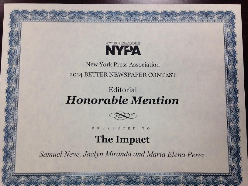 Impact Wins Editorial NYPA Award