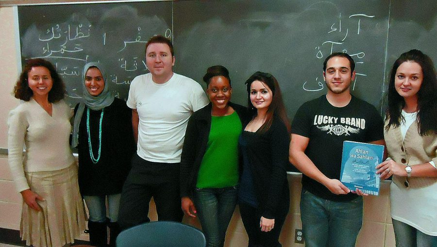 Heba+Hasan+%28second+from+left%29+and+Prof.+Habiba+Boumlik+%28left%29+say+their+Arabic+class+is+making+great+strides.