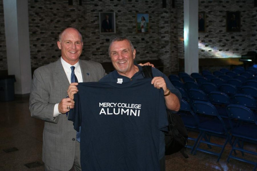 Rudy showing off his Mercy colors. He was a honorary graduate of Mercy and spoke at the graduation ceremony three years ago.