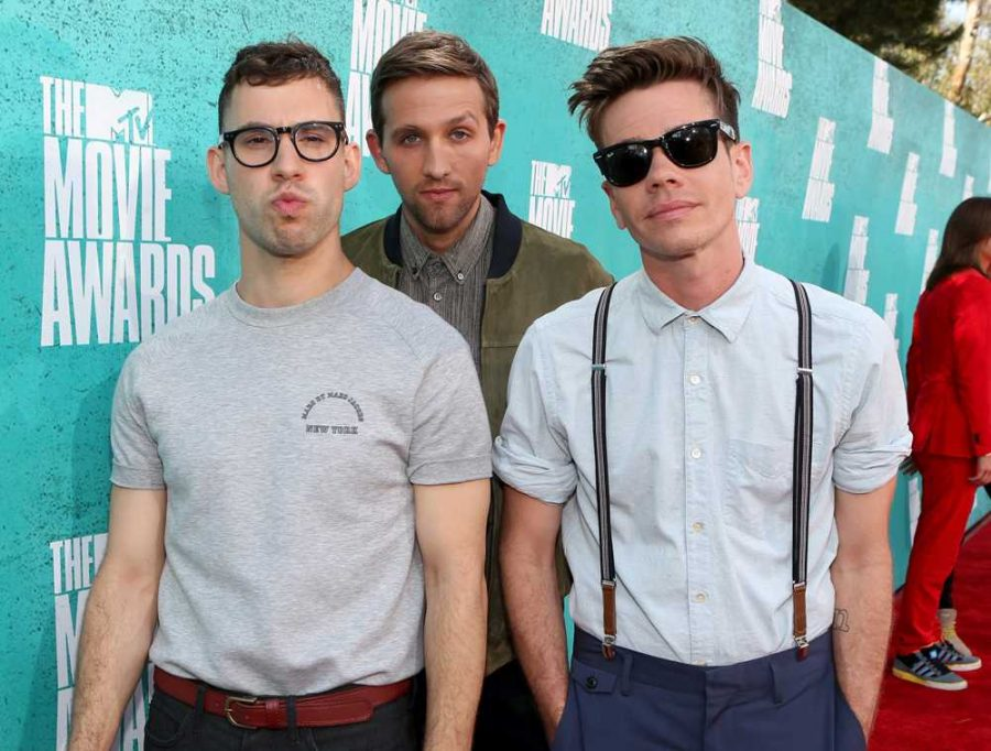 THE THREE BAND MEMBERS IN THE INDIE POP ROCK BAND FUN LOOKING COOL
