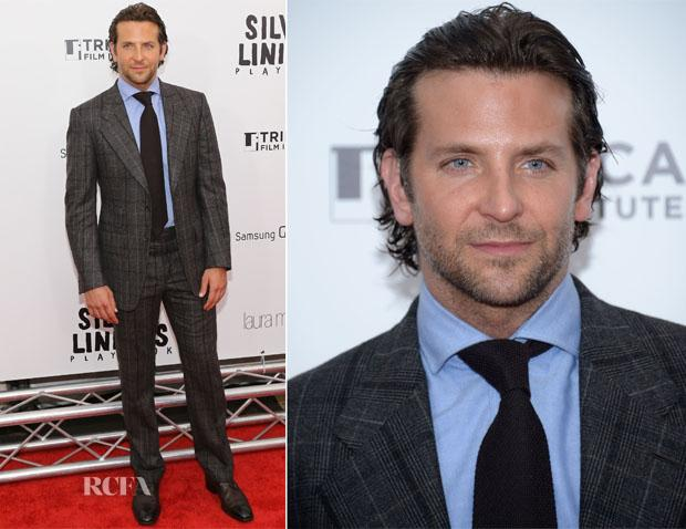 HOT BARDLEY COOPER IN FASHION WEARING A TWEED PATTERN SUIT ON THE RED CARPET.