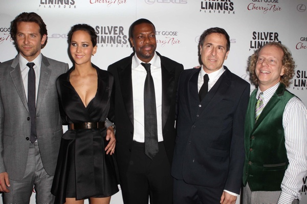 (From Right to Left in Order) Bradley Cooper, Jennifer Lawrence, Chris Tucker, David O. Russell and Bruce Cowen at their movie premier.