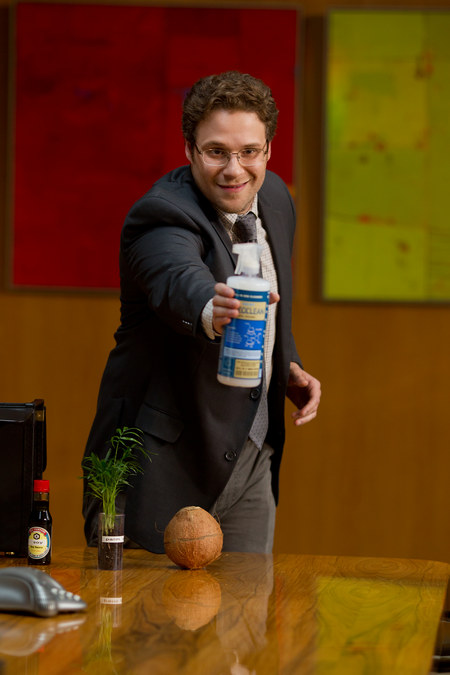 The chemist (Andy played by Seth Rogen) has created a new cleaning product made of all natural ingredients and he takes it across country to pitch it to various big store companies.