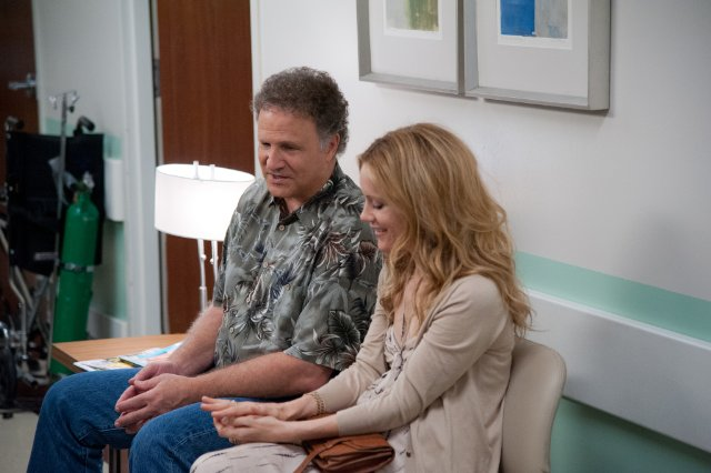 SCENE AT END OF MOVIE - ALBERT BROOKS AND LESLIE MANN WAITING IN DOCTORS OFFICE HAVING A SWEET CONVERSATION.