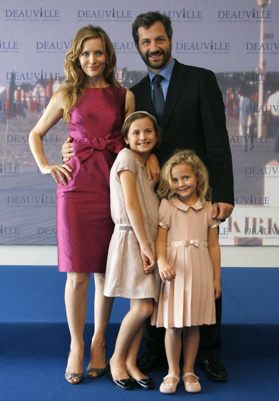 HAPPY APATOW FAMILY WHEN THE KIDS (TWO GIRLS) WERE YOUNG.