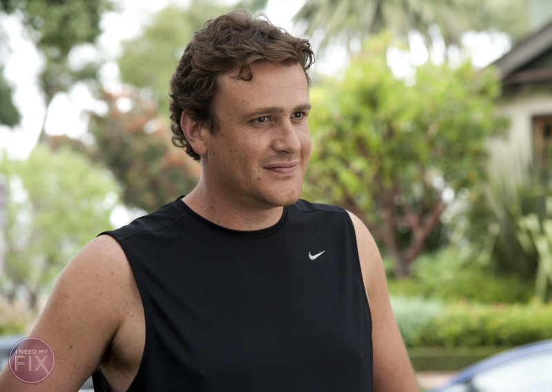 """ACTOR JASON SEGEL -  SCENE IN """"THIS IS 40"""" - WHO PLAYS FRIEND OF PAUL RUDD'S CHARACTER AND LESLIE MANN'S CHARACTER'S PERSONAL FITNESS TRAINER."""