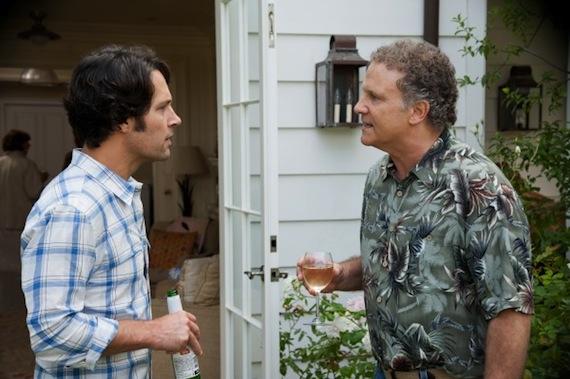 SCENE IN MOVIE - PAUL RUDD AND ALBERT BROOKS HAVING A CONVERSATION IN THEIR BACKYARD.