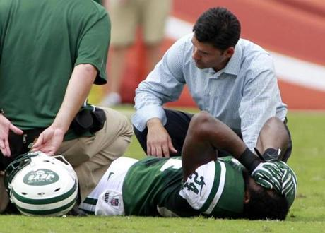 Revis after tearing his ACL