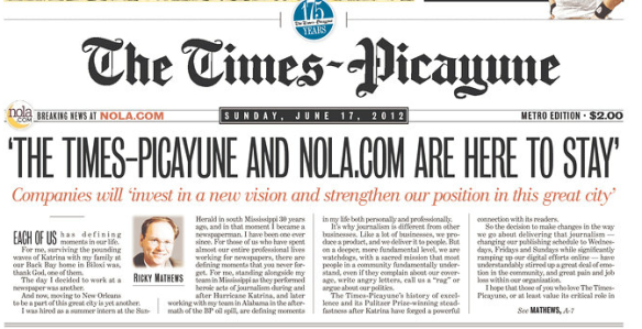 THE TIMES-PCAYUNE AND NOLA.COM ARE HERE TO STAY