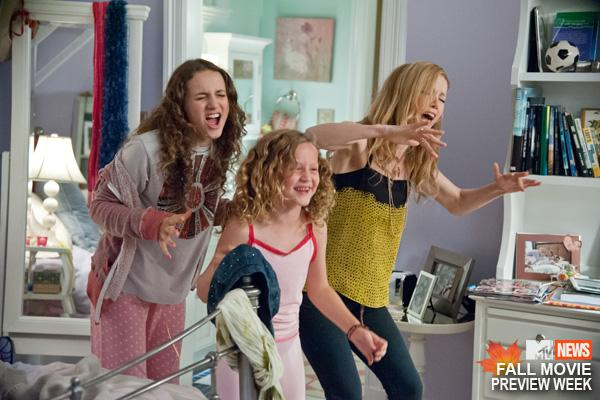 """SCENE IN """"THIS IS 40"""" OF THE THREE GIRLS DANCING IN ONE OF THE GIRL'S BEDROOMS. THIS SHOWS THAT THEIR MOTHER IS STILL YOUTHFUL AND HAS STYLE."""