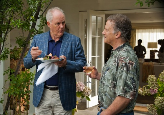 """SENCE IN """"THIS IS 40"""" -BOTH FATHERS. JOHN LITHGOW (LESILE MANN'S FATHER) AND ALBERT BROOKS (PAUL RUDD'S FATHER) TRYING TO GET TO KNOW EACH OTHER BUT IT DID NOT WORK OUT."""