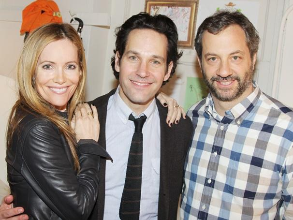 CAST -  (LEFT TO RIGHT IN ORDER) LESILE MANN, PAUL RUDD, JUDD APATOW (DIRECTOR)