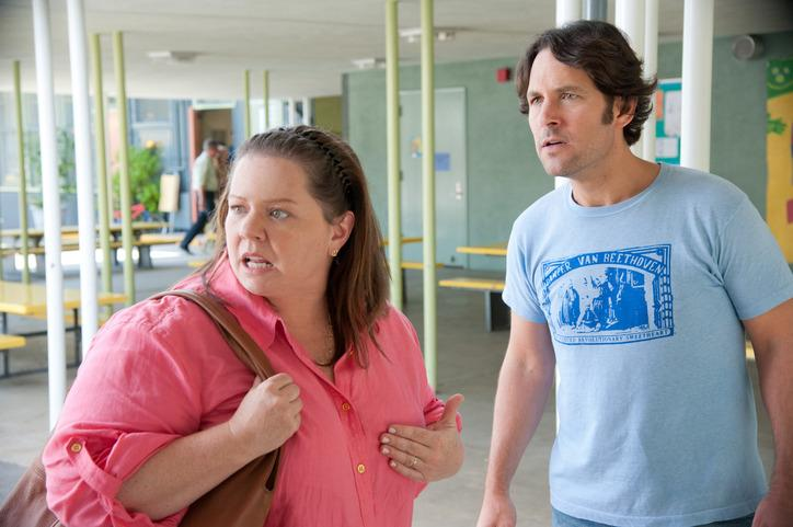 """SCENE IN """"THIS IS 40"""" - MELISSA McCarthy (MOTHER OF OLDER DAUGHTER'S FRIEND) PAUL RUDD HAVING AN ARGUMENT OUTSIDE SCHOOL."""