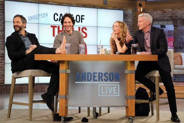 """THE CAST OF """"THIS IS 40"""" ON THE TALK SHOW ANDERSON LIVE STARTING ANDERSON COOPER. THIS IS A FUNNY PHOTO WITH JUDD APATOW'S FOOT ON THE TABLE - HAHA."""