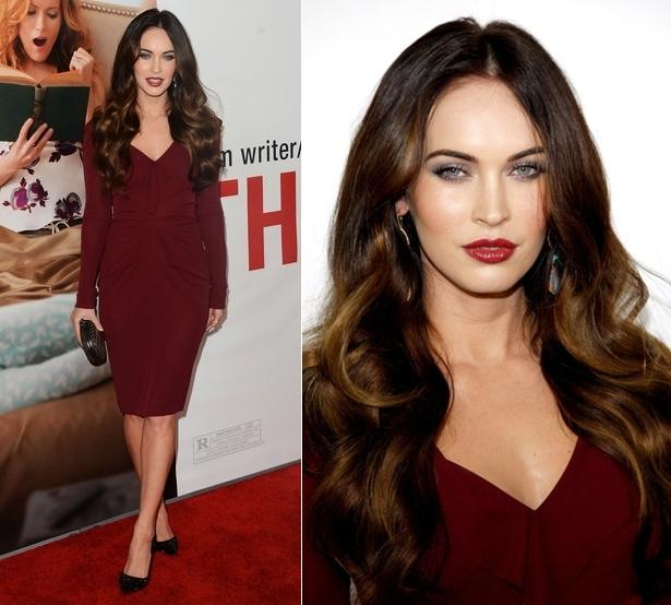 WOW ACTRESS MEGAN FOX WEARING A SEXY MAROON COLOR DRESS.