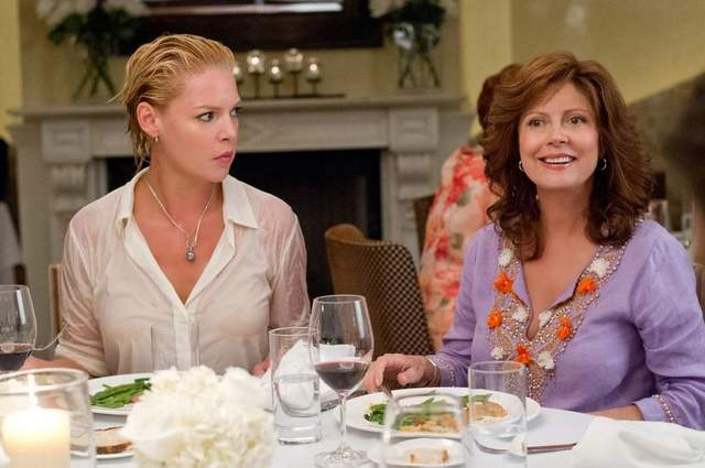 "SCENE - ACTRESS - KATHERINE HEIGHL AND ACTRESS - SUSAN SARANDON HAVING DINNER WITH THE REST OF THE CRAZY FAMILY IN MOVIE ""THE BIG WEDDING""."