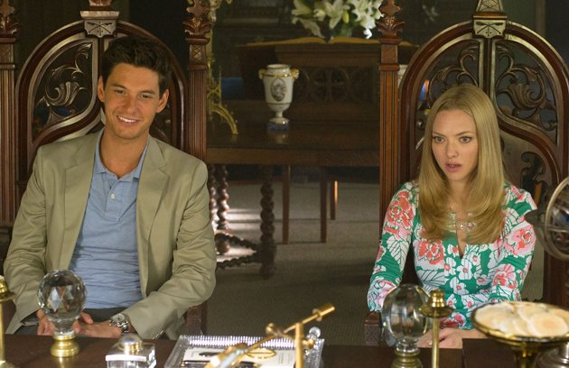 SCENE - WHERE THE YOUNG COUPLE IN THE MOVIE WAS AT CHURCH GETTING THEIR WEDDING ARRANGED. ACTOR - BEN BARNES AND ACTRESS - AMANDA SEYFRIED