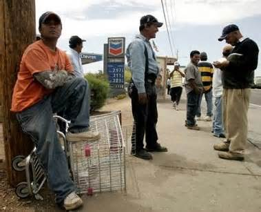Workers waiting for job opportunities.