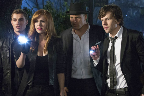 "THE CAST ON A HUNT FOR SOMETHING DURING THE NIGHT IN A SENCE FROM THE MOVIE ""NOW YOU SEE ME."""