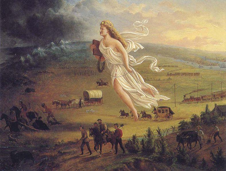 """""""Manifest Destiny"""" 1872 Artist John Gast painted a popular scene of people moving west that captured the view of Americans at the time. Called """"Spirit of the Frontier"""" and widely distributed as an engraving portrayed settlers moving west, guided and protected by a goddess-like figure of Columbia and aided by technology (railways, telegraphs), driving Native Americans and bison into obscurity."""