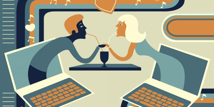 Illustrative+of+couple+representing+online+dating