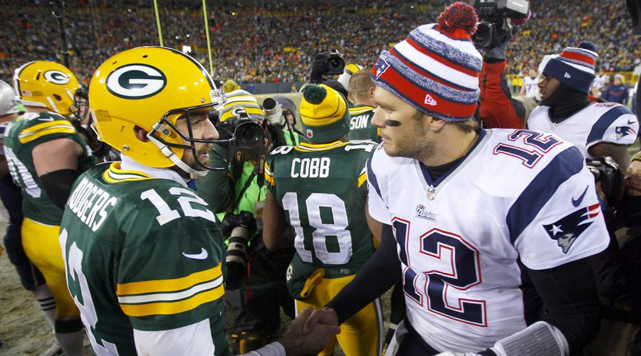 Green Bay Packers quarterback Aaron Rodgers (12) shakes hands with New England Patriots quarterback Tom Brady (12) after their game. The Packers won the game 26-21. NFL: New England Patriots vs Green Bay Packers game action Lambeau Field/Green Bay, WI 11/30/2014 X159002 TK1 Credit: Jeff Haynes
