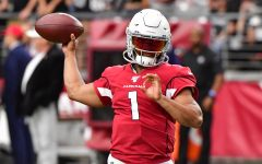 Aug 15, 2019; Glendale, AZ, USA; Arizona Cardinals quarterback Kyler Murray (1) warms up prior to a preseason game against the Oakland Raiders at State Farm Stadium. Mandatory Credit: Matt Kartozian-USA TODAY Sports