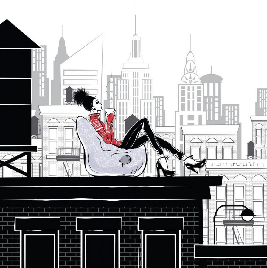 Fashion+girl+in+style+sketch+on+the+rooftop+in+New+York