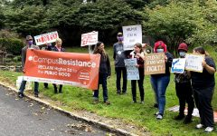Adjuncts Hold Rally Outside Mercy Scholarship Fundraiser